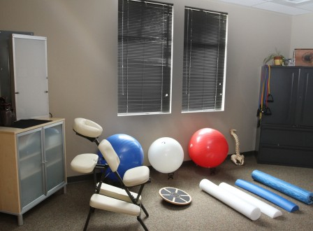 Moore Chiropractic - Picture of our New Rehabilitation and Exercise Center. We have exercise balls, foam rollers and balance trainers.
